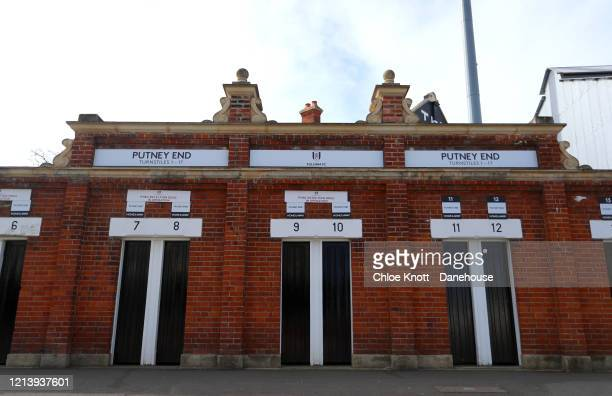 A general view outside of Craven Cottage home of Fulham FC is seen as football in England remains suspended due to Covid19 on March 21 2020 in London...