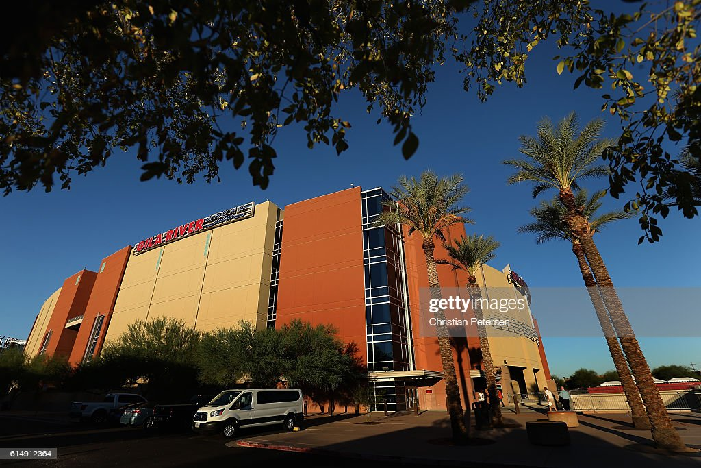 General view outside of Gila River Arena before the NHL game between the Arizona Coyotes and the Philadelphia Flyers on October 15, 2016 in Glendale, Arizona.