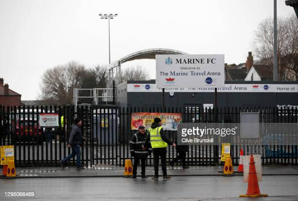 General view outside of Marine Football Club's ground, The Marine Travel Arena prior to their next home game the FA Cup Third Round match between...