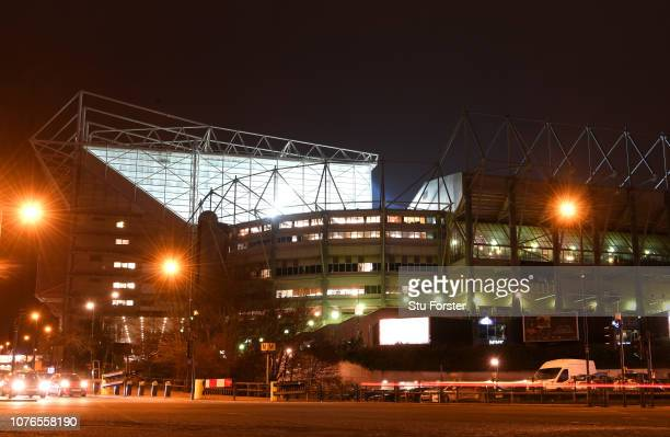 General view outside of St James' Park Stadium before the Premier League match between Newcastle United and Manchester United at St. James Park on...