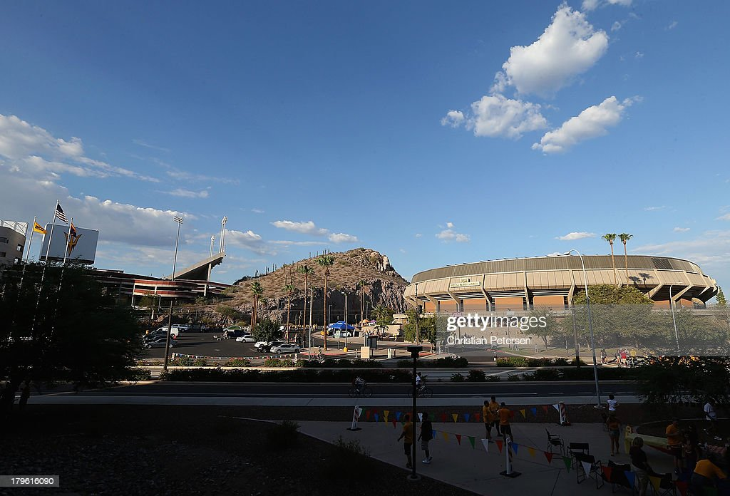 General view outside of Sun Devil Stadium and Wells Fargo Arena before the college football game between the Arizona State Sun Devils and the Sacramento State Hornets on September 5, 2013 in Tempe, Arizona.