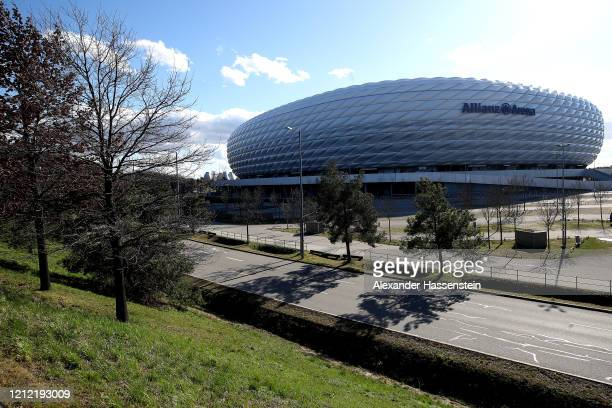 General view outside of the Allianz Arena on March 13, 2020 in Munich, Germany. The German football league DFL announced today that the upcoming...