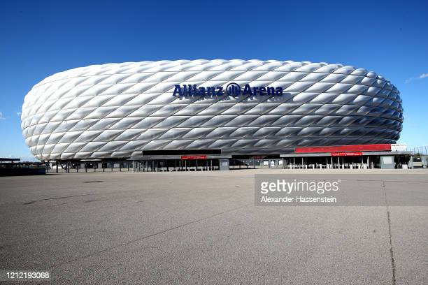 A general view outside of the Allianz Arena on March 13 2020 in Munich Germany The German football league DFL announced today that the upcoming match...
