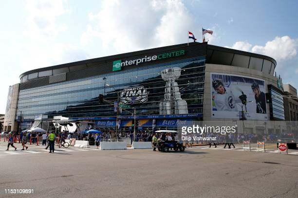 General view outside of the arena prior to Game Three of the 2019 NHL Stanley Cup Final between the Boston Bruins and the St. Louis Blues at...