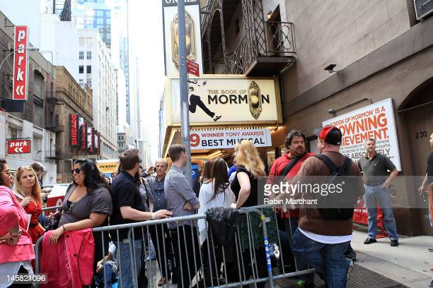 General view outside of the Eugene O'Neill Theatre for the 'The Book Of Mormon' fan performance on June 6 2012 in New York City
