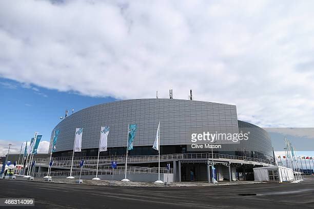 A general view outside of the Ice Cube Curling Center prior to the Sochi 2014 Winter Olympics at the Olympic Park on February 1 2014 in Sochi Russia