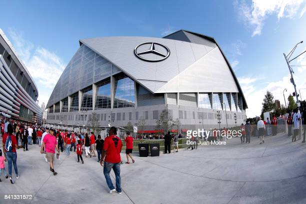 A general view outside of the MercedesBenz Stadium before the Atlanta Falcons play the Jacksonville Jaguars in a preseason game on August 31 2017 in...