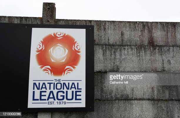 General view outside of the National league logo at Meadow Park, home of Boreham Wood FC on March 18, 2020 in Borehamwood, England.