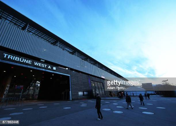 A general view outside of the Red Bull Arena before the UEFA Europa League group I match between FC Salzburg and Vitoria Guimaraes at Red Bull Arena...