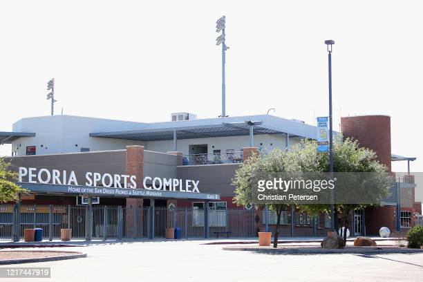 General view outside of the Seattle Mariners and San Diego Padres spring training facility, Peoria Sports Complex on April 07, 2020 in Peoria,...