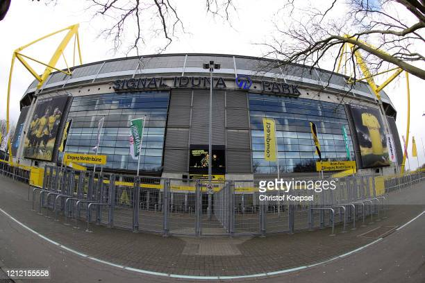 General view outside of the Signal Iduna Park on March 13, 2020 in Various Cities, Germany. The German football league DFL announced today that the...