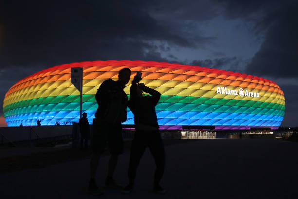 DEU: Allianz Arena Illuminated In Rainbow Colours For Christopher Street Day