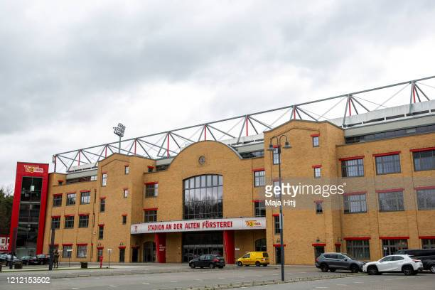 General view outside of the Stadion An der Alten Foersterei on March 13, 2020 in Berlin, Germany. The German football league DFL announced today that...