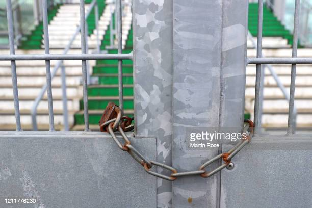 General view outside of the stadium ahead of the UEFA Europa League round of 16 first leg match between VfL Wolfsburg and Shakhtar Donetsk at...