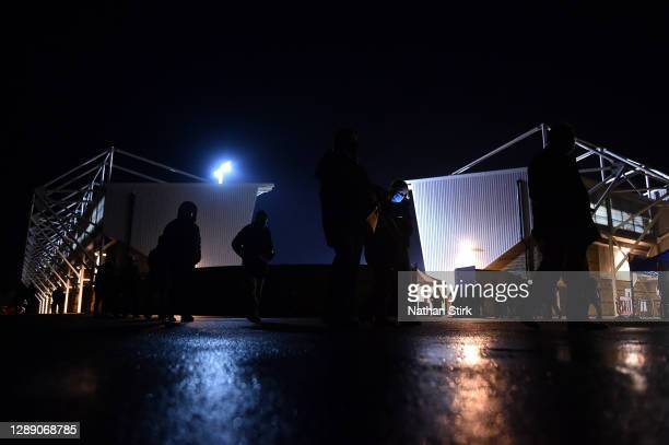 General view outside of the stadium as fans make their way towards their socially distanced seating ahead of the Sky Bet League One match between...
