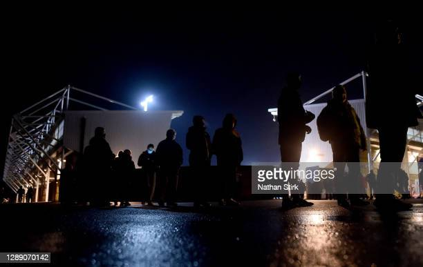 General view outside of the stadium as fans queue ahead of the Sky Bet League One match between Shrewsbury Town and Accrington Stanley at Montgomery...
