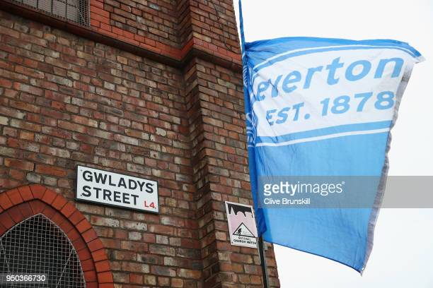 A general view outside of the stadium prior to the Premier League match between Everton and Newcastle United at Goodison Park on April 23 2018 in...