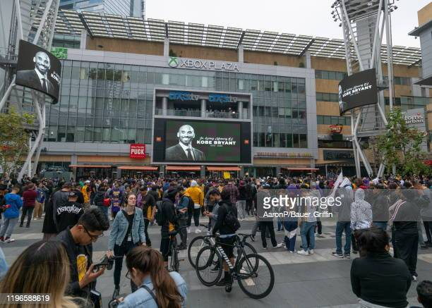 A general view outside of the Staples Center where a makeshift memorial for Kobe Bryant has been setup by fans who have gathered to honor the...