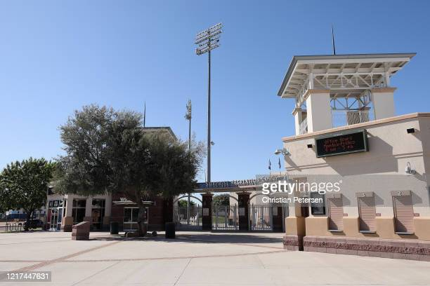 General view outside of the Texas Rangers and Kansas City Royals spring training facility Surprise Stadium on April 07 2020 in Surprise Arizona...