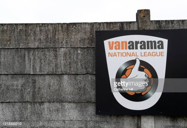 General view outside of the Vanarama National league logo at Meadow Park, home of Boreham Wood FC on March 18, 2020 in Borehamwood, England.