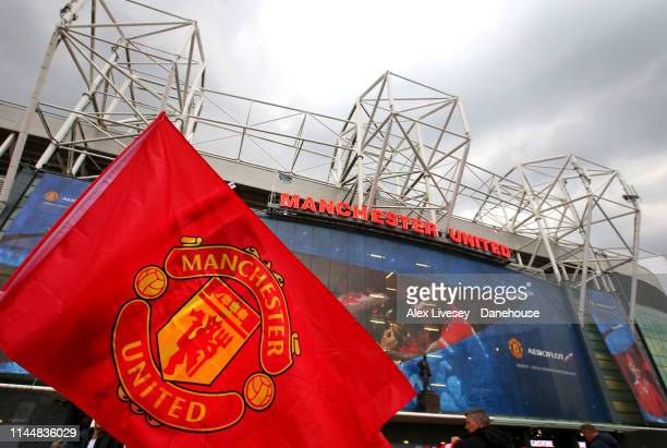 A general view outside Old Trafford is seen prior to the Premier League match between Manchester United and Manchester City at Old Trafford on April...