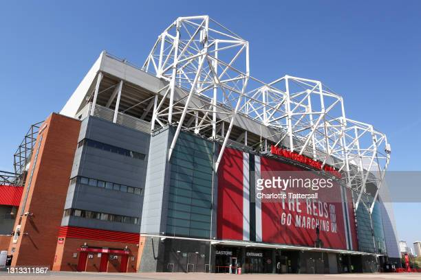 General view outside Old Trafford on April 19, 2021 in Manchester, England. Six English premier league teams have announced they are part of plans...