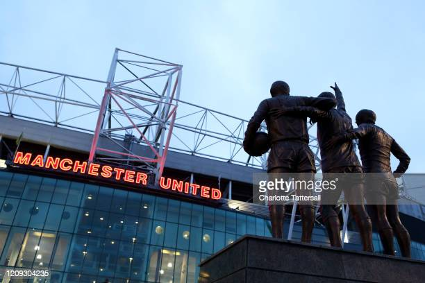 General view outside Old Trafford prior to the FA Youth Cup: Sixth Round match between Manchester United and Wigan Athletic at Old Trafford on...