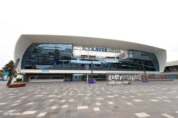 General view outside Rod Laver Arena during day six of the 2021 Australian Open at Melbourne Park on February 13, 2021 in Melbourne, Australia....