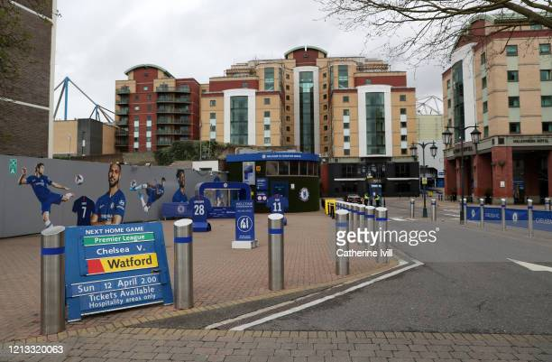 General view outside Stamford Bridge stadium home of Chelsea on March 14, 2020 in London, England.