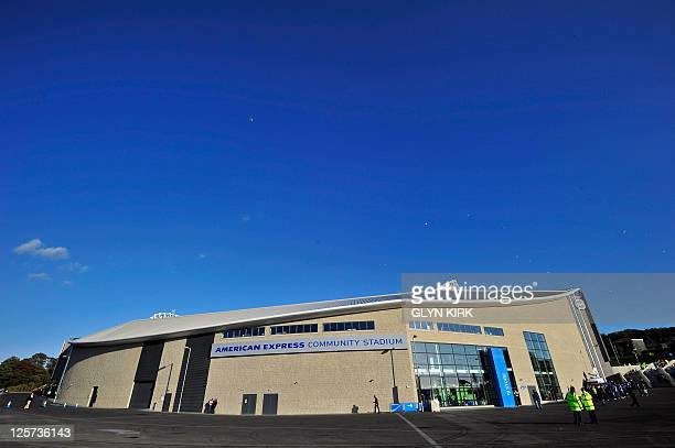 General view outside the American Express Community Stadium before the league cup football match between Brighton Hove Albion and Liverpool at The...