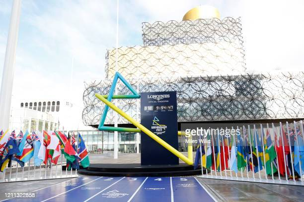 A general view outside the Birmingham Library where the Birmingham 2022 countdown clock is displayed during the launch of the Birmingham 2022...