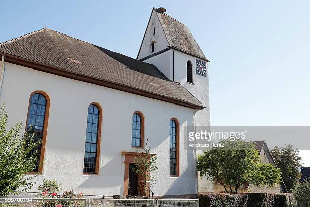 A general view outside the church where Samuel Koch and Sarah Elena Timpe will hold their wedding on August 27 taken on August 26 2016 in Mappach...