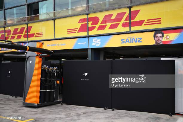 General view outside the closed McLaren F1 garage ahead of practice for the F1 Grand Prix of Australia at Melbourne Grand Prix Circuit on March 13,...