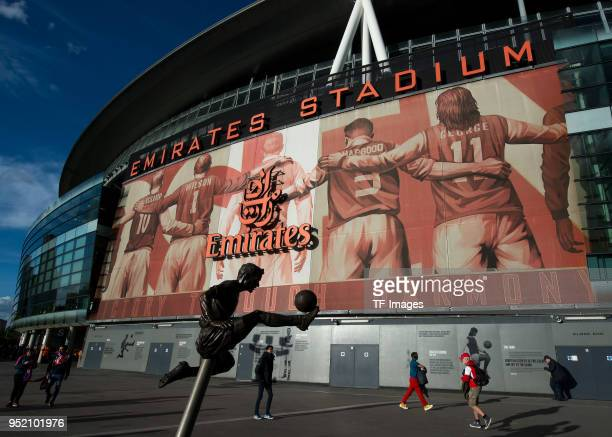 General view outside the Emirates Stadium prior to the UEFA Europa League Semi Final leg one match between Arsenal FC and Atletico Madrid at Emirates...