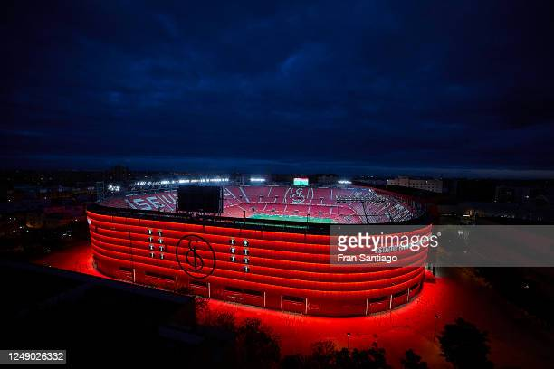 A general view outside the empty stadium during the Liga match between Sevilla FC and Real Betis at Ramon Sanchez Pizjuan on June 11 2020 in Seville...