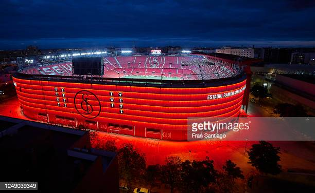 General view outside the empty stadium during the Liga match between Sevilla FC and Real Betis at Ramon Sanchez Pizjuan on June 11, 2020 in Seville,...