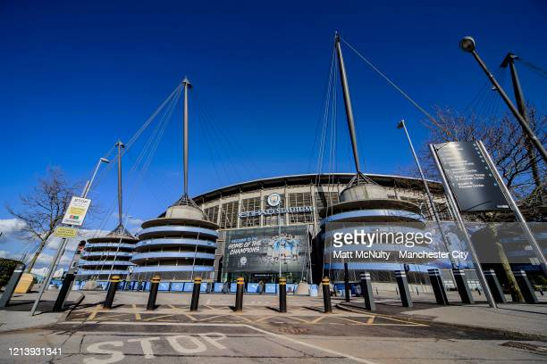 A general view outside the Etihad Stadium during the coronavirus pandemic on March 20 2020 in Manchester England