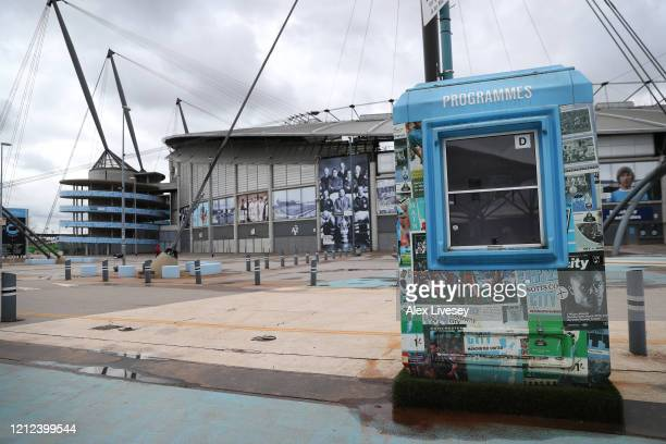 A general view outside the Etihad Stadium home of Manchester City FC is seen as the scheduled match to be played today between Manchester City and...