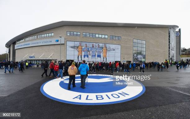A general view outside the ground as fans start to gather prior to the Premier League match between Brighton and Hove Albion and AFC Bournemouth at...