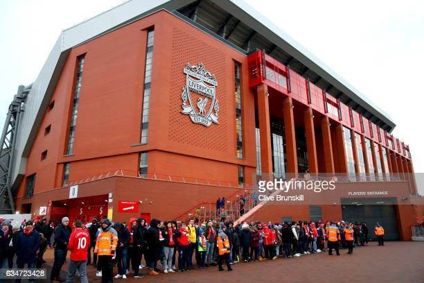 A general view outside the ground as fans wait for the teams to arrive prior to the Premier League match between Liverpool and Tottenham Hotspur at...
