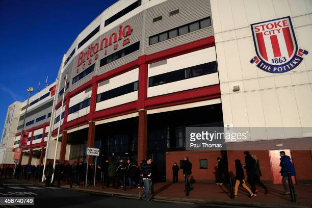 A general view outside the ground before the Barclays Premier League match between Stoke City and Aston Villa at the Britannia Stadium on December 21...