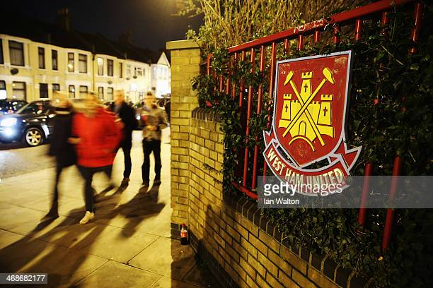 General view outside the ground before the Barclays Premier League match between West Ham United and Norwich City at the Boleyn Ground on February 11...