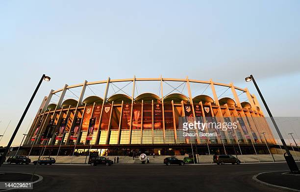 A general view outside the ground during the Atletico Madrid training session ahead of the UEFA Europa League Final between Atletico Madrid and...