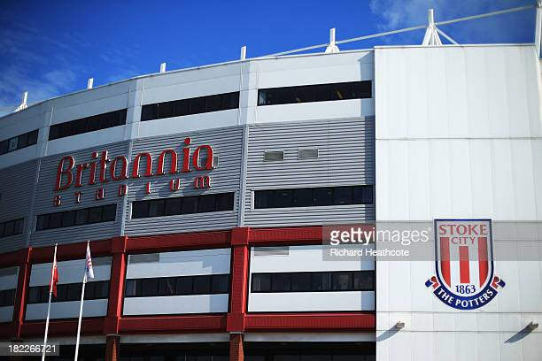 A general view outside the ground prior to the Barclays Premier League match between Stoke City and Norwich City at the Britannia Stadium on...