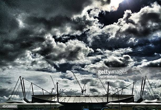 A general view outside the ground prior to the Barclays Premier League match between Manchester City and Stoke City at Etihad Stadium on August 30...