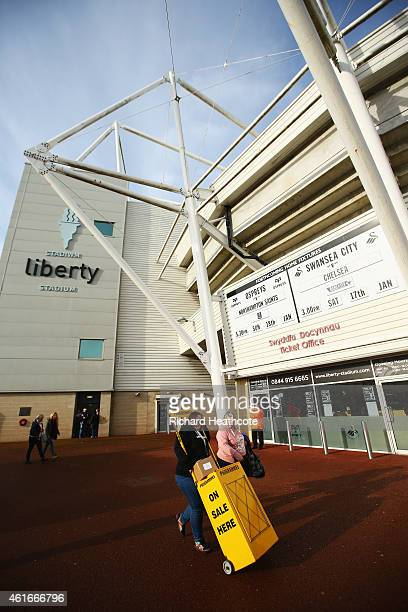 A general view outside the ground prior to the Barclays Premier League match between Swansea City and Chelsea at Liberty Stadium on January 17 2015...