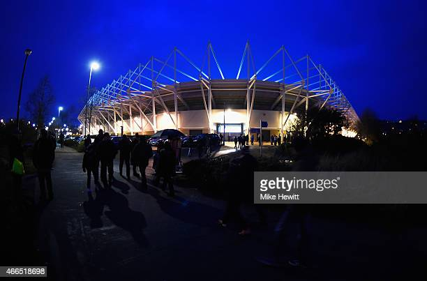 A general view outside the ground prior to the Barclays Premier League match between Swansea City and Liverpool at Liberty Stadium on March 16 2015...