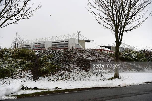 A general view outside the ground prior to the Barclays Premier League match between Stoke City and Arsenal at Britannia Stadium on January 17 2016...