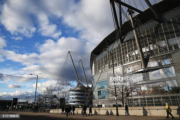 A general view outside the ground prior to the Barclays Premier League match between Manchester City and Tottenham Hotspur at Etihad Stadium on...