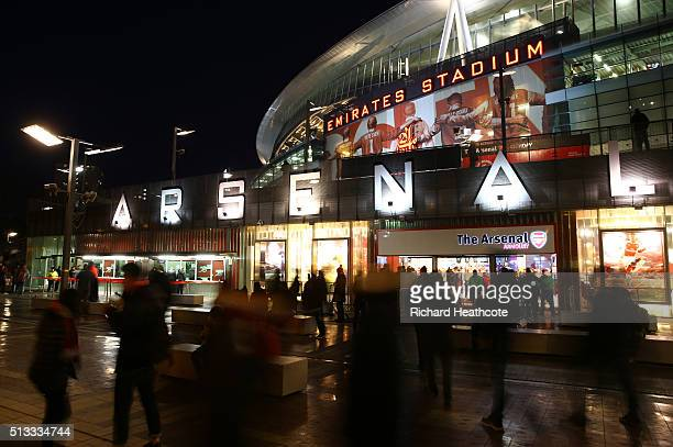 A general view outside the ground prior to the Barclays Premier League match between Arsenal and Swansea City at the Emirates Stadium on March 2 2016...